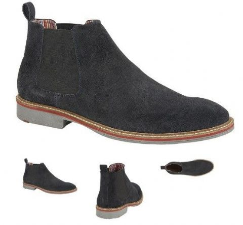 Navy Real Suede Gusset Boot Textile Lining Suede Sock TPR Sole